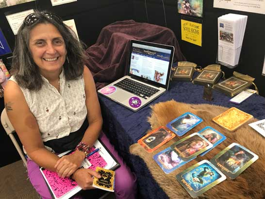 Cynthia Santana reading the Transformation Oracle at the 2017 BMSE Metaphysical Fair in Denver, CO.